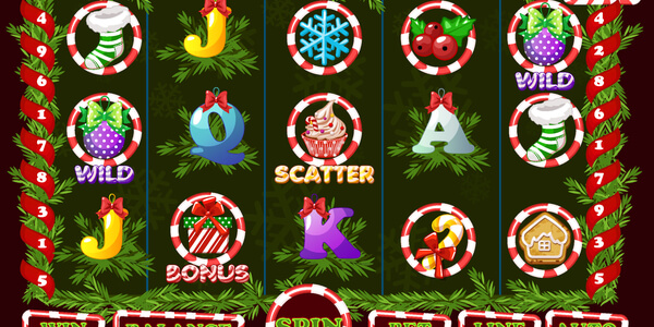 Christmas Slot, game UI interface and icons. Complete menu for casino game. Icons and buttons on a separate layer.