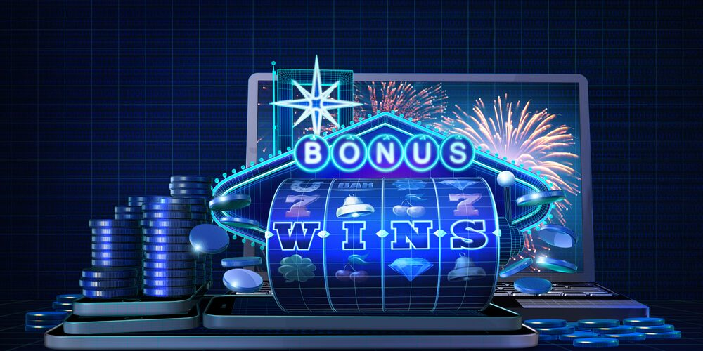 Abstract gambling concept image for casinos offering games with chance for players to trigger bonus wins. 3D Rendered illustration showing wire-frame style computer generated casino game elements