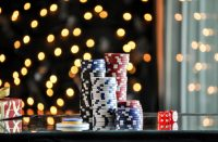 Christmas setting with poker chips