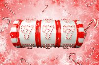 Red And White Christmas / New Year Slot Machine Isolated On Pink Background - 3D Illustration