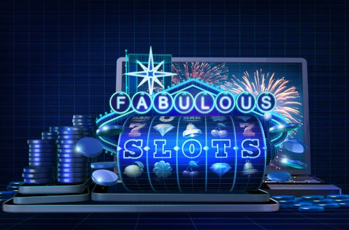 Abstract gambling concept image for online casinos offering for play fabulous slots games. 3D illustration with wire-frame style computer generated 5-reel slot machine and a neon sign