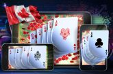 gambling online in canada: Gambling concept image suggesting the idea of playing online versions of poker games at top Canadian online casinos using mobile devices. 3D Rendered illustration on a dark background