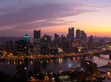 Pittsburgh, city in the state of Pennsylvania, United States of America, as seen across the Monongahela River, at dawn