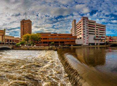 Aurora, USA - September 03, 2019 : Aurora Town riverside view in Aurora Town of Illinois