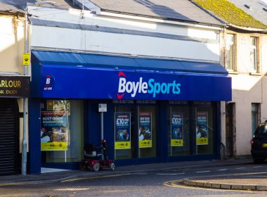 gambling ireland: 2 November 2020 A local Boylesports bookmakers shop open for business while other shops around them are closed during the Corona Virus lockdown