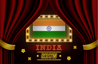 Show time board for performance, cinema, entertainment, roulette, poker of India country event. Shining light bulbs vintage of India country name