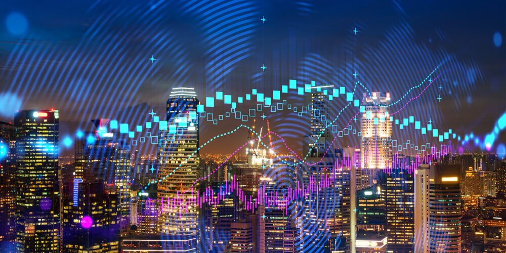 online casino market FOREX graph hologram, aerial night panoramic cityscape of Singapore, the developed location for stock market researchers in Asia. The concept of fundamental analysis. Double exposure.
